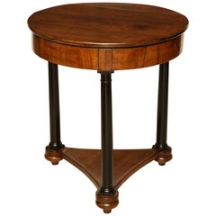 19th Century Circular Cherry Wood Side Table on Ebonized Plinth Base