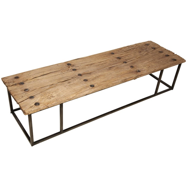 Narrow Bleached Antique Oak Wood Coffee Table On Iron Base
