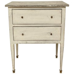 Small, Painted White Two-Drawer Commode or Nightstand, France, circa 1940