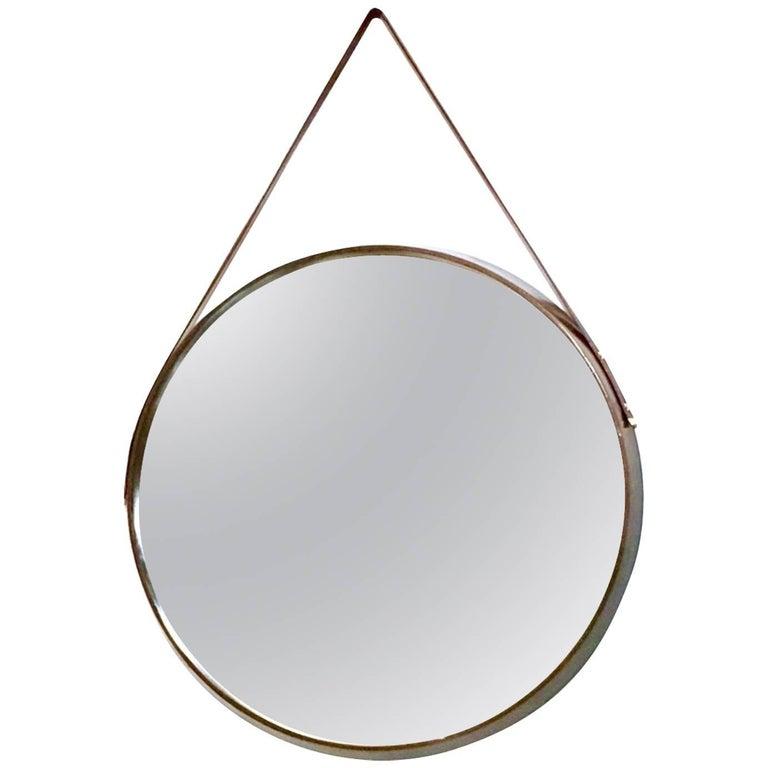 Round Mahogany and Leather Wall Mirror, Italy, 1950s