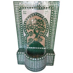 Hunter Green Moroccan Mosaic Fountain, Tree of Life