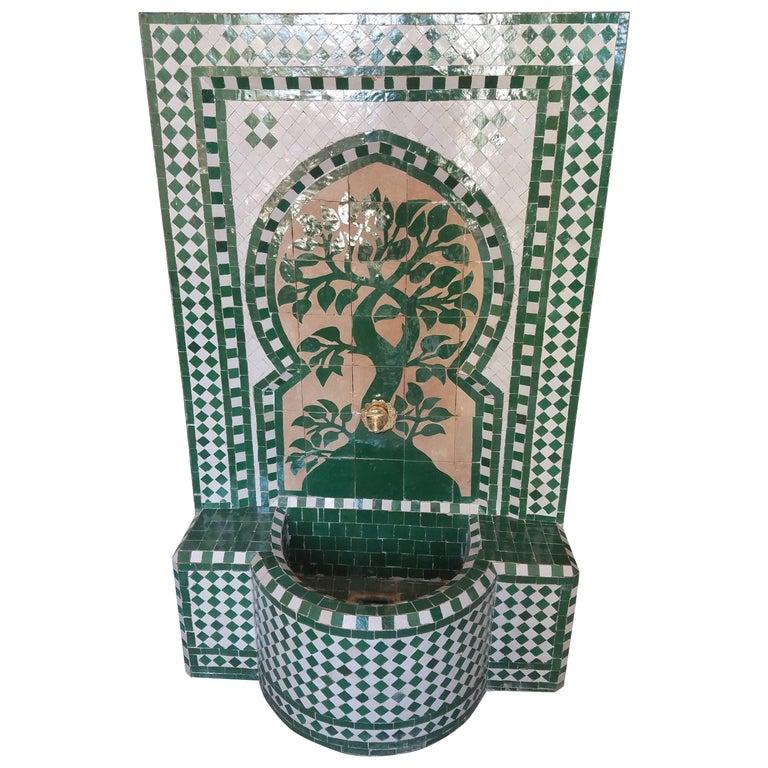 Hunter Green Moroccan Mosaic Fountain, Tree of Life