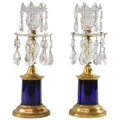 19th Century Pair of Crystal Brass and Cobalt Blue Candlesticks by Waterford