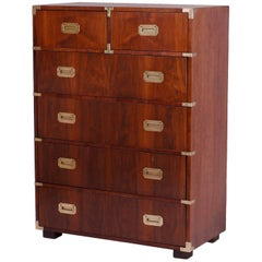 Midcentury Campaign Style Chest of Drawers