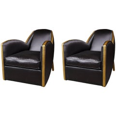 Extremely Fine And Stylish Pair of French Art Deco Style Giltwood Armchairs