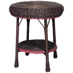 American Mission Wicker Round Brown Painted and Orange Trimmed End Table