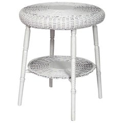 American Victorian White Painted Wicker Round End Table
