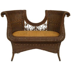 American Victorian Natural Wicker Two Person Loveseat