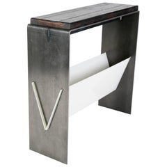 The V Table, a Combination of Reclaimed Fir and Powder Coated and Raw Steel