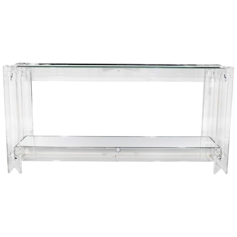 Lucite with Mirrored Top Console Table