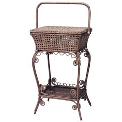 American Victorian Natural Wicker Sewing Table