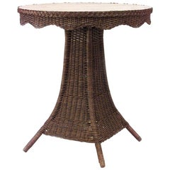 American Mission Natural Wicker Center Table with Round Oak Top