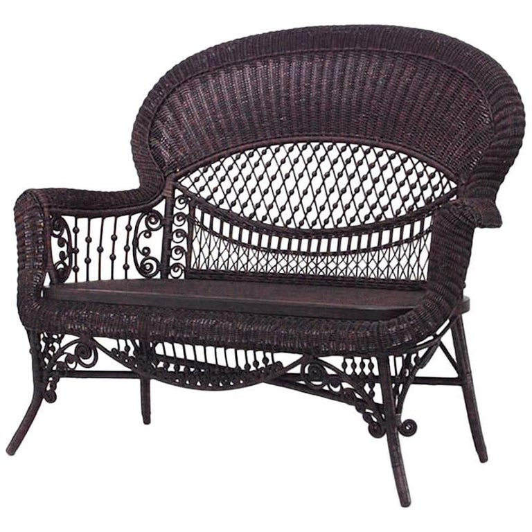 American Victorian Natural Wicker Settee
