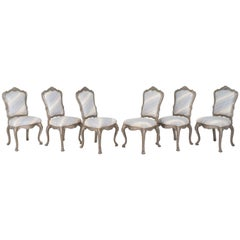 Set of Six or Eight Lacquered Dining Chairs