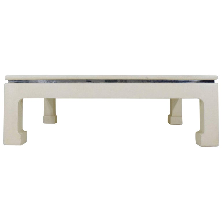 Grasscloth Coffee Table With Asian Influence For