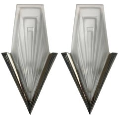 Pair of French Art Deco Geometric Wall Sconces Signed by Degue