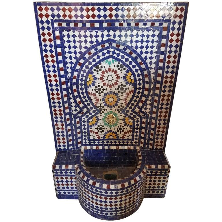 Moroccan Multi-color Tile Fountain Garden Indoors