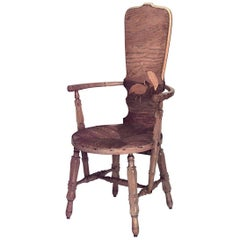 Rustic French Provincial Style High Back Armchair, 19th Century
