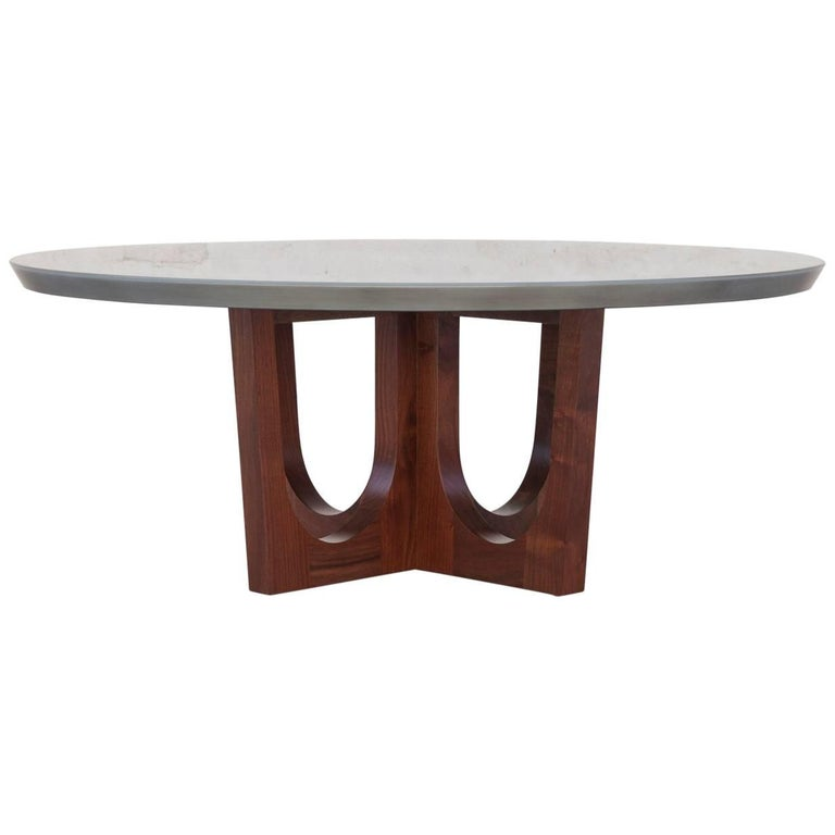 Grand Pedestal Coffee Table, Customizable Metal, Wood and Resin