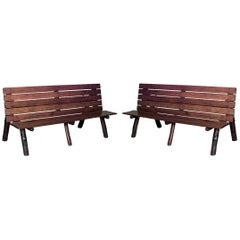 pair of american rustic old hickory metamorphic picnic tables or benches - Garden Furniture Tables