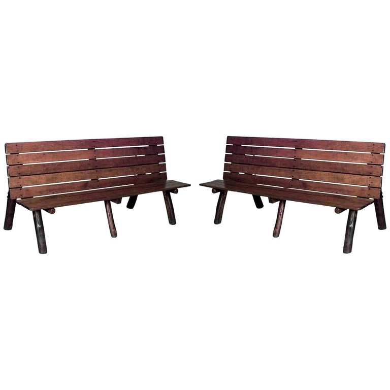 Pair of American Rustic Old Hickory Metamorphic Picnic Tables or Benches For Sale