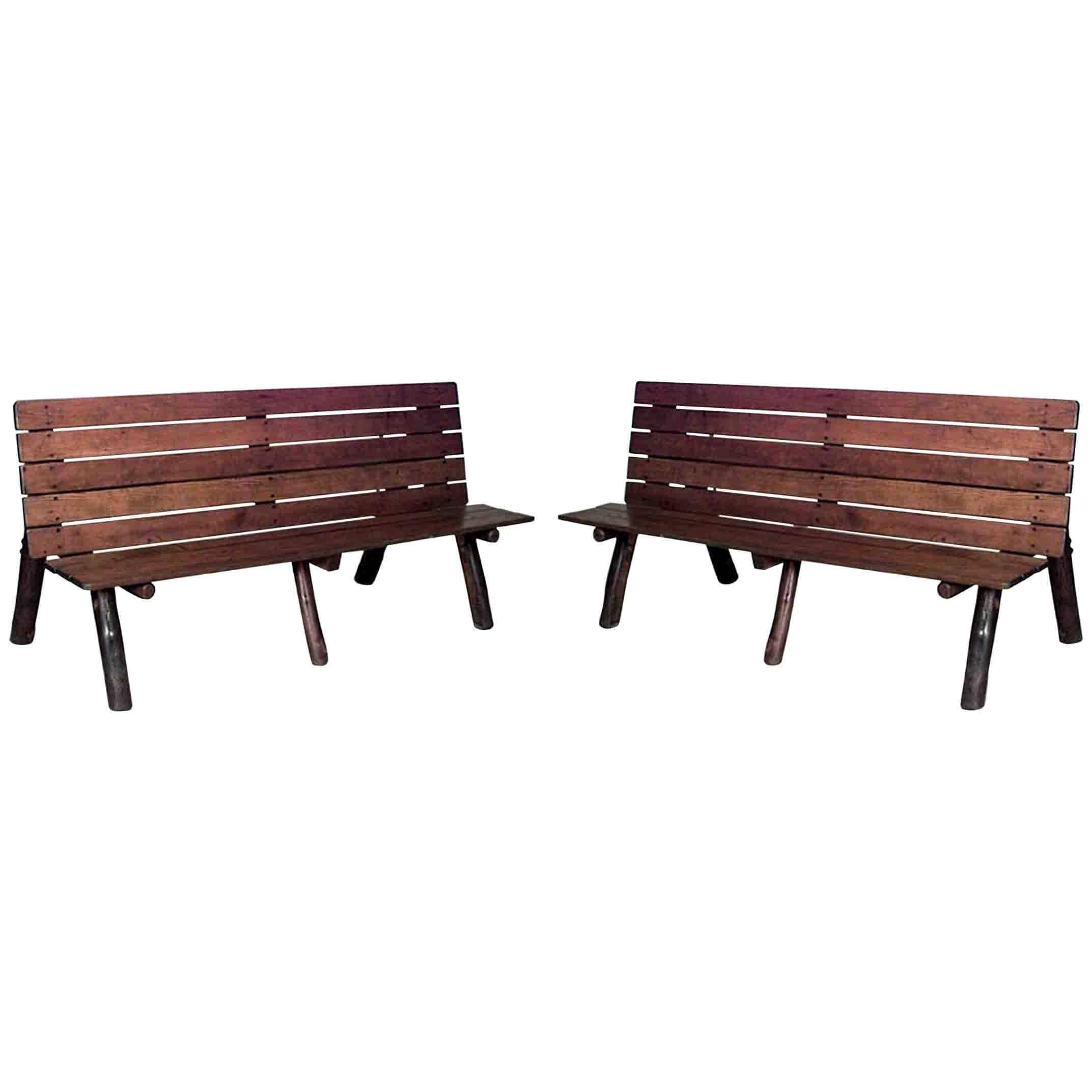Pair Of American Rustic Old Hickory Metamorphic Picnic Tables Or Benches