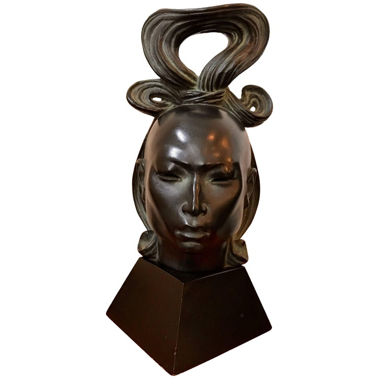 Beautiful Tribal Female Head Sculpture by American Artist Fred Press, 1950s