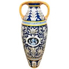 Antique Italian Faience Glazed Ceramic Vase, Palace Size