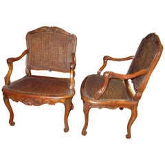 "Pair of Louis XV ""L. Cresson"" Caned Fauteuils à La Reine"