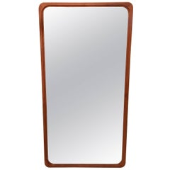 Danish Modern Large Solid Teak Mirror with Rounded Corners