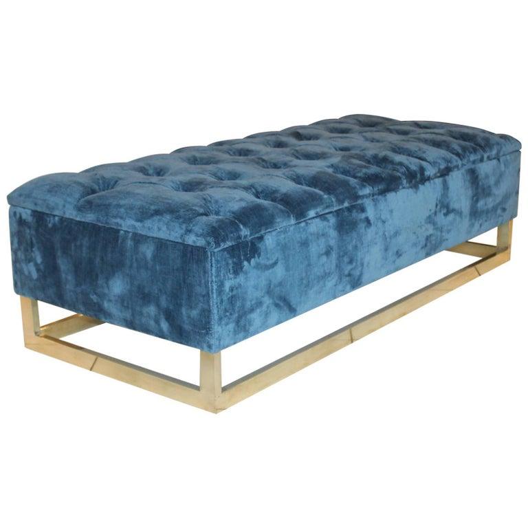 Blue Velvet Padded Bench