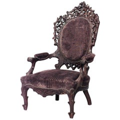 Rustic Black Forest Walnut Large Open Armchair, 19th Century