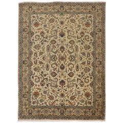 Vintage Persian Tabriz Area Rug with French Country Chippendale Farmhouse Style