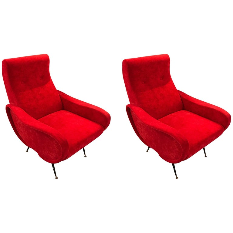 Pair of MCM Italian Zanuso Style Chairs