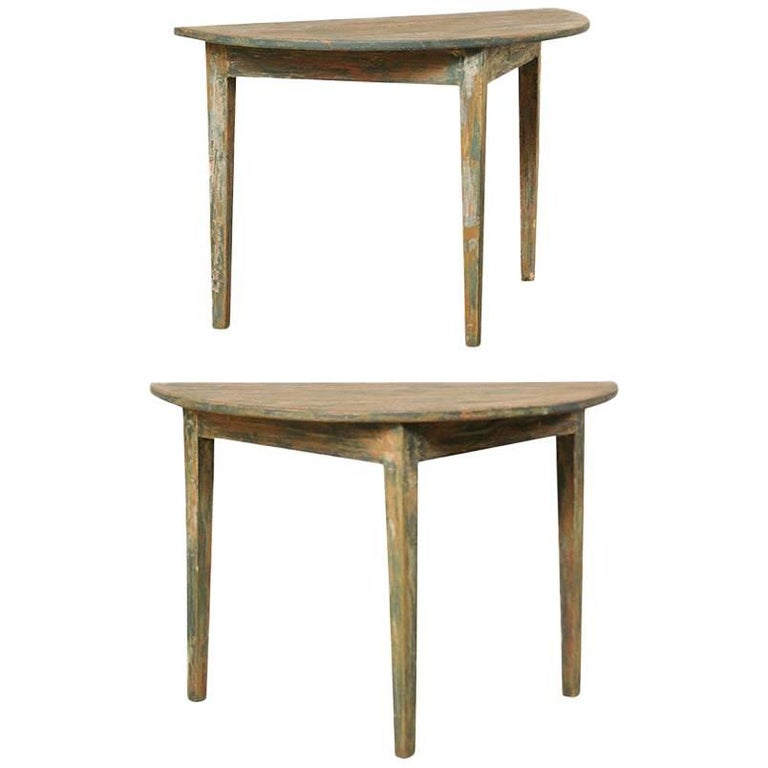 Pair of Painted Wood Swedish Demilune Tables with Traces of Original Paint