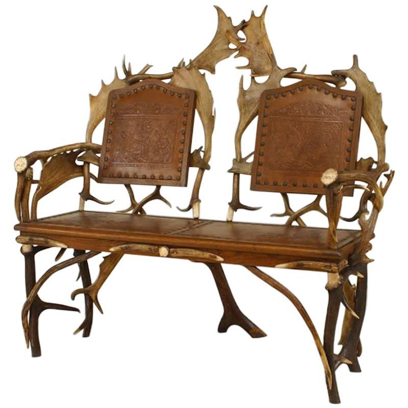 Rustic German Oak And Antler Loveseat