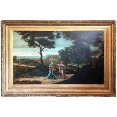 18th Century French Oil on Canvas Landscape Painting with Royals