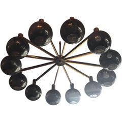 Large and Epic 12-Arm Brass Chandelier with Frosted Globes