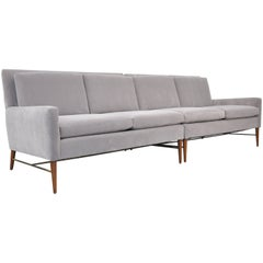 Paul McCobb for Directional Gray Velvet Sectional Sofa