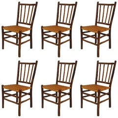 Set of Six Rustic Old Hickory Side Chairs