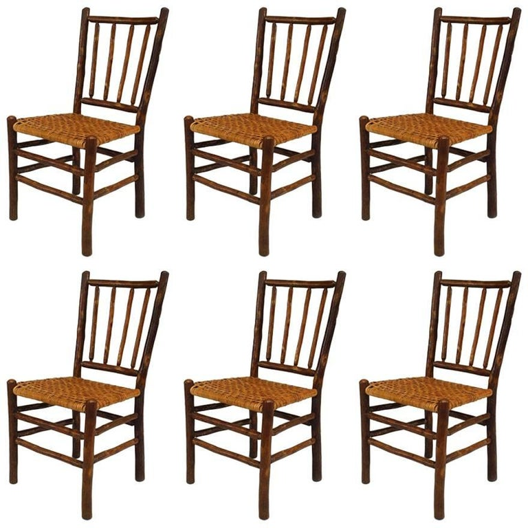 Set of Six Rustic Old Hickory Side Chairs with a Four-Spindle Back