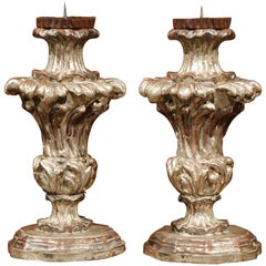 Pair of Italian Hand-Carved Silver Leaf Pricket Candlesticks with Metal Bobeches