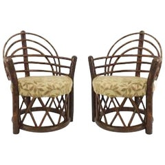 "Pair of Rustic Old Hickory ""Apache"" Round Back Arm Chairs"