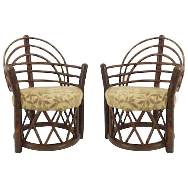 """Pair of Rustic Old Hickory """"Apache"""" Round Back Arm Chairs"""