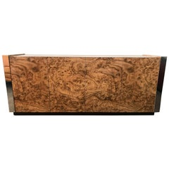 Paul Evans Style Faux Burl and Chrome Credenza