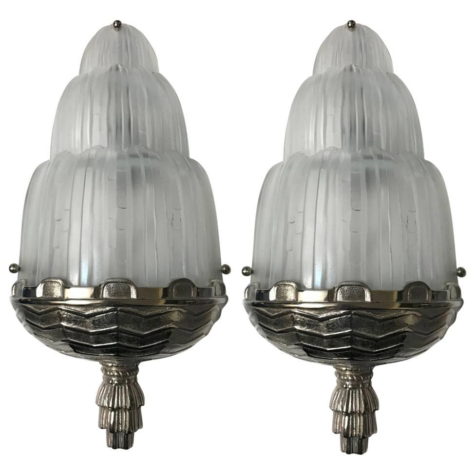 """Pair of French Art Deco """"Waterfall"""" Sconces Signed by Sabino"""