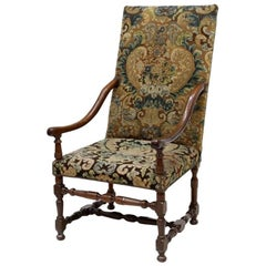 Louis XIII Style Armchair with Tapestry Upholstery, 19th Century