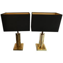 Pair of Willy Rizzo Brass Table Lamps
