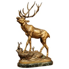 19th Century French Patinated Spelter Deer Sculpture on Marble Signed Lecourtier