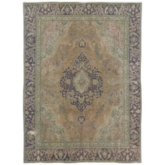 Purple and Green Vintage Persian Tabriz Rug with Traditional Style